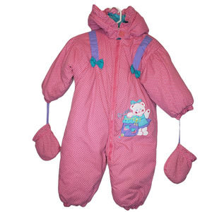 Baby insulated winter hooded snow suit gloves